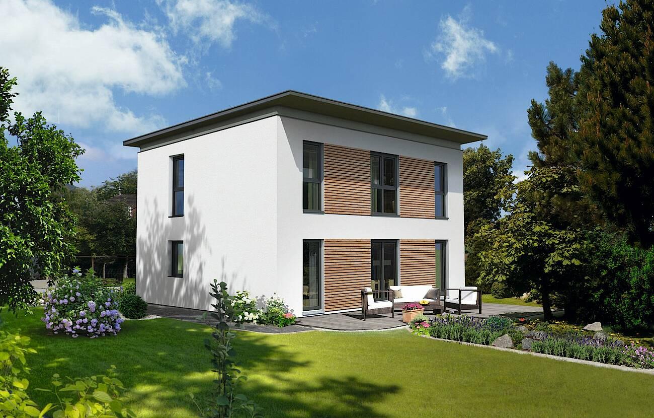 Trend 129 P - Fassade mit Holzschalung