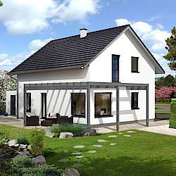 Top3-Haus mit Satteldach in Weiß mit Pergola