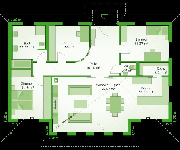 Erdgeschoss Variante großer Wohnraum