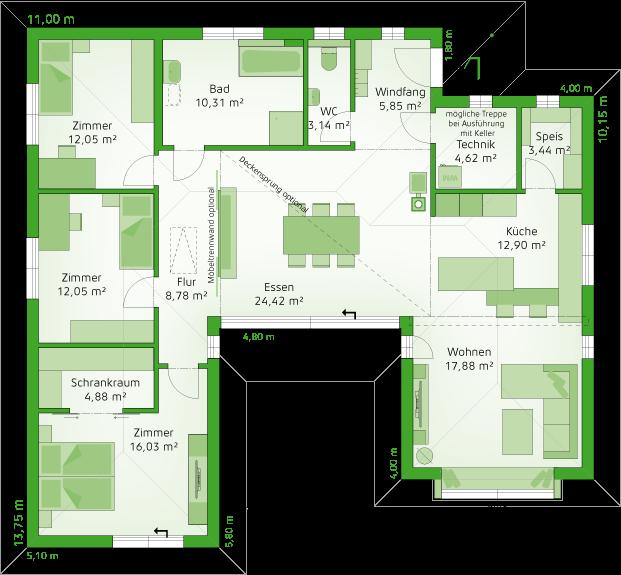 Erdgeschoss New Life Musterhausvariante