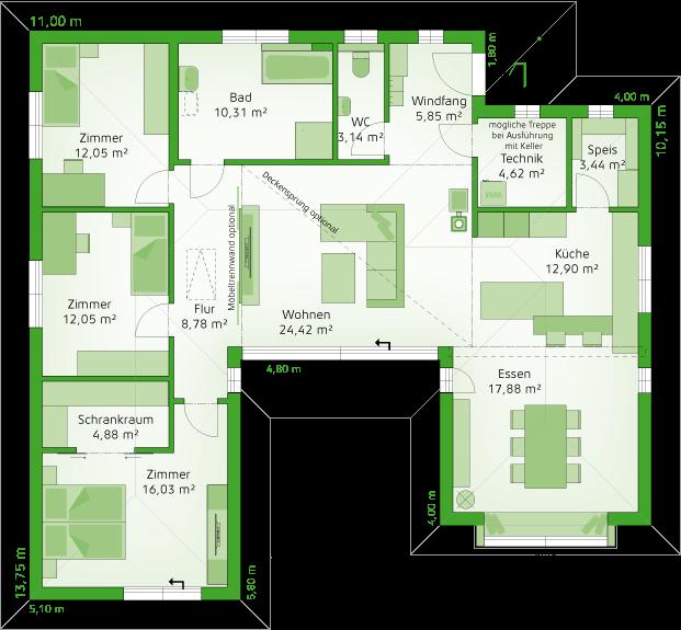 Erdgeschoss Möblierungsvariante