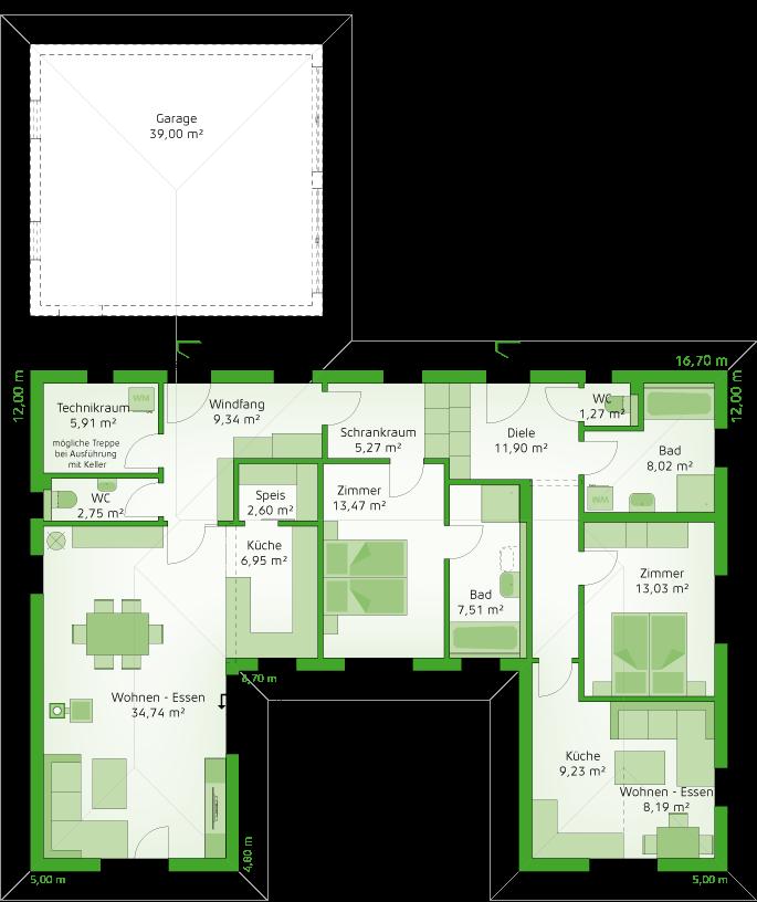 Variante Einliegerwohnung - Erdgeschoss