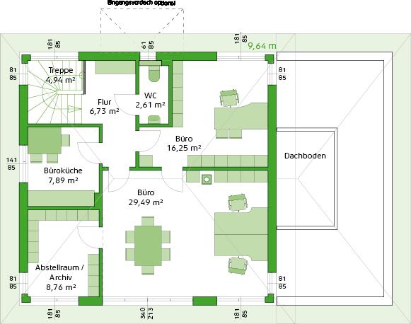 Obergeschoss Variante mit Büro