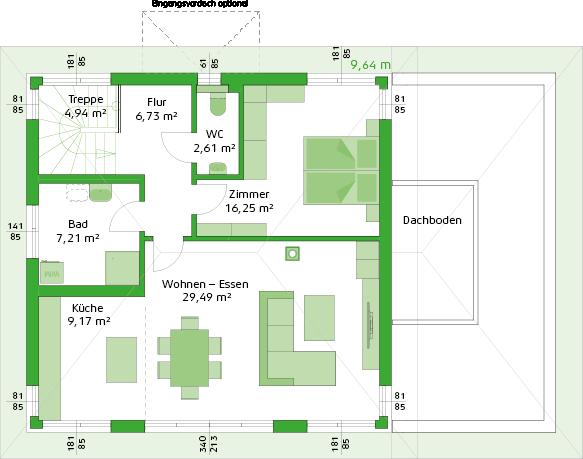 Obergeschoss Variante mit Einliegerwohnung
