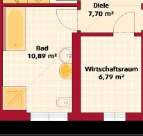 Erdgeschoss Variante zwei Zimmer mit größerem Bad