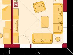 Erdgeschoss Variante Wohnzimmer mit Panoramaverglasung