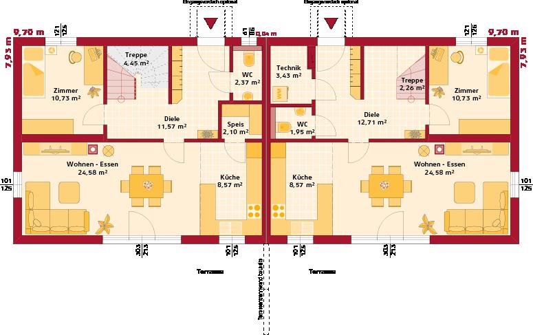 Erdgeschoss Trend 129 W Doppelhaus
