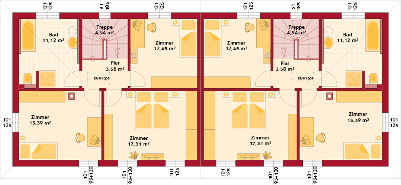 Obergeschoss Trend 129 W Doppelhaus