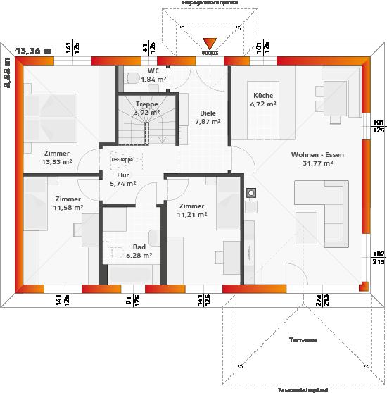 Erdgeschoss Variante Keller mit 3 Zimmern, Panoramaverglasung und Terrassenüberdachung