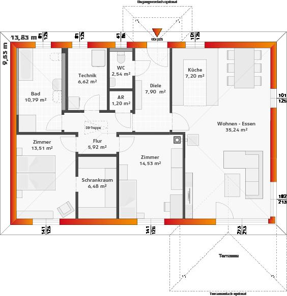 Erdgeschoss Variante Fundamentplatte mit 2 Zimmern, Panoramaverglasung und Terrassenüberdachung