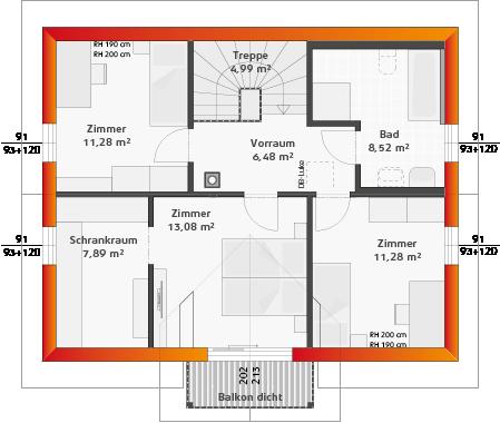 Dachgeschoss mit Balkon (24° DN)