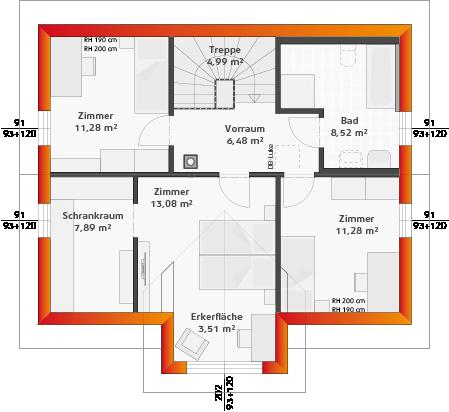 Dachgeschoss mit Erker (24° DN)