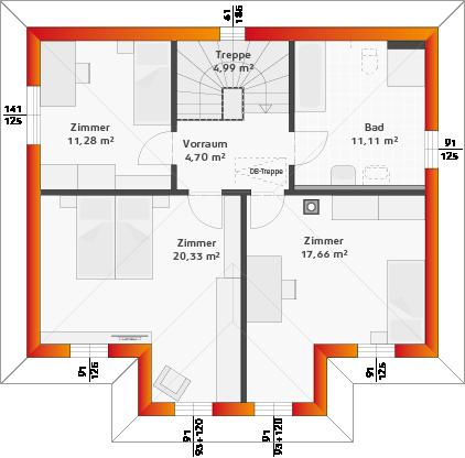 Obergeschoss mit Erker