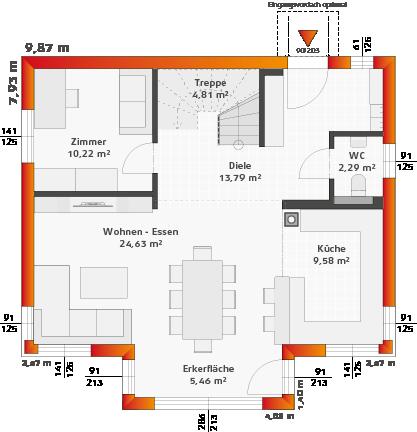 Erdgeschoss Variante Keller, Eingang Längsseitig, Eckfenster Classic und Erker