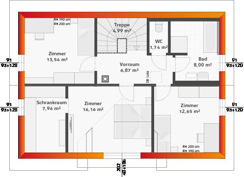 Dachgeschoss mit Seitengiebel (24° DN)