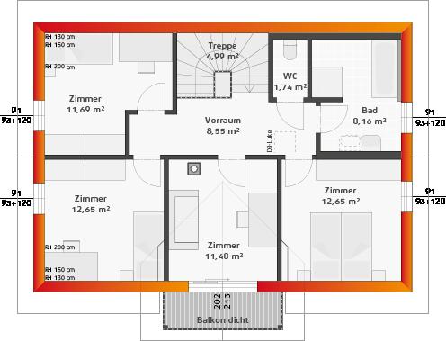 Dachgeschoss mit 4 Zimmern und Balkon (38° DN)