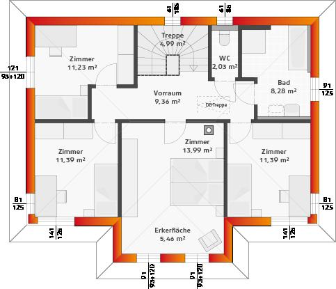 Obergeschoss mit 4 Zimmern, Eckfenster Classic und Erker