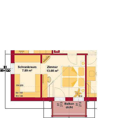 Dachgeschoss Variante mit Seitengiebel und Balkon