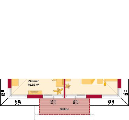 Obergeschoss Variante mit Balkon auf Erker