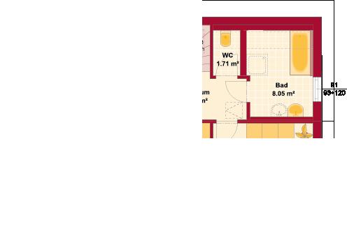 Dachgeschoss Variante getrenntes WC