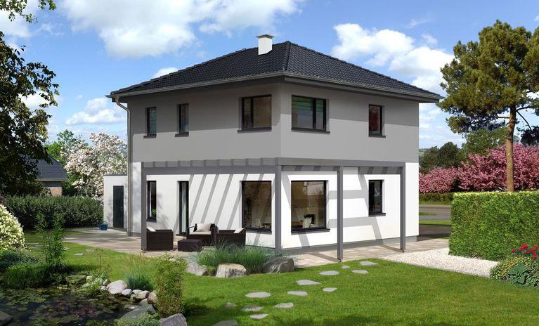 Aktionshaus Top 3 in Grau und Weiß mit Walmdach
